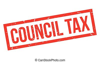 Council Tax rubber stamp on white. Print, impress,...