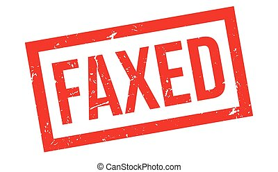 Faxed rubber stamp on white Print, impress, overprint Fax...