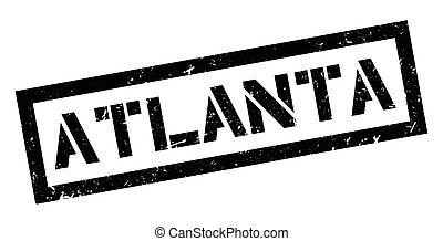 Atlanta rubber stamp on white. Print, impress, overprint.