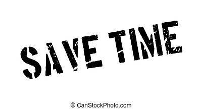 Save time rubber stamp on white. Print, impress, overprint....