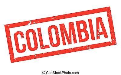 Colombia rubber stamp on white Print, impress, overprint