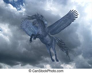 Black Pegasus in Blue Sky - A black Pegasus horse rises on...