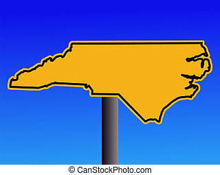 North Carolina warning sign - warning sign in shape of North...