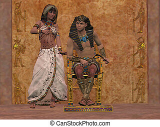 Egyptian Queen advises Pharaoh - The rulers of Egypt in the...