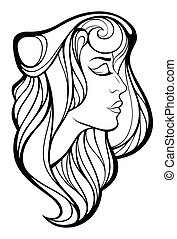 Vector decorative portrait of beauty woman with long hair...