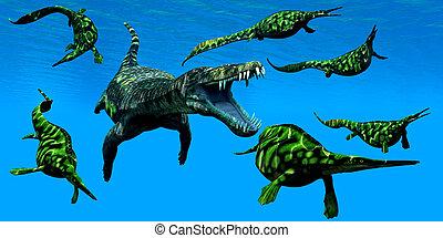 Nothosaurus Marine Reptile - A Nothosaurus marine reptile...