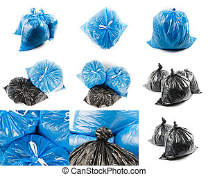 blu, borse,  collage, nero, Immondizia