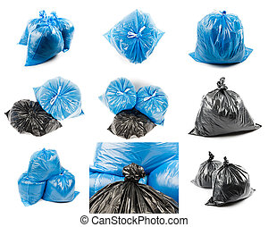 Collage of black and blue garbage bags