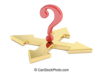 Choice concept with arrows and question mark, 3D rendering