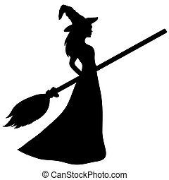 Young witch with a broom silhouette on a white background....