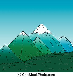 Mountain landscape. Green mountains with snowy peaks....