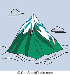 Green mountain with snowy peak and clouds. - Mountain with...