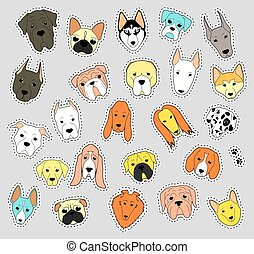 Animals patch collection of purebred dogs. patches