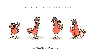 Rooster red Chinese New Year Symbol 2017 Funny rooster and...