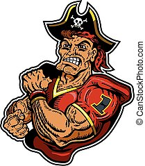 pirates football - muscular pirates football player mascot...