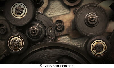 Camera moving through spinning gears