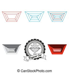 Set of trapeze cut jewel views isolated on white background...