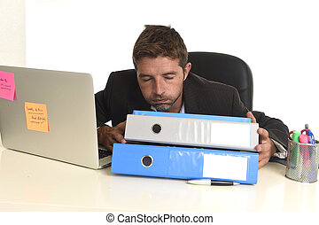 tired wasted businessman working in stress at office laptop...