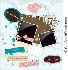 Pastel scrapbooking elements set. Vector illustration EPS10
