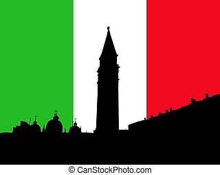 St Marks Square with flag - St Marks Square with Campanile...