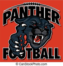 panther football team design with black panther mascot head...