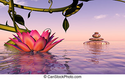 water lily floating - 3d illustration water lily floating in...
