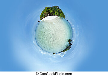 Little planet panorama on the beach - Little planet panorama...