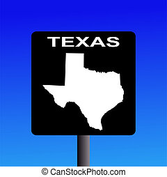 Texas highway sign - Blank Texas highway sign on blue...