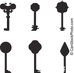 Grey Key Silhouettes - Set with Keys Silhouettes Made in...