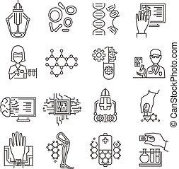Nanotechnology Linear Icons Set - Nanotechnology linear...