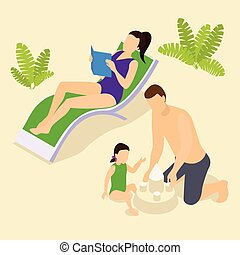 Family Vacation Isometric Composition - Family vacation...