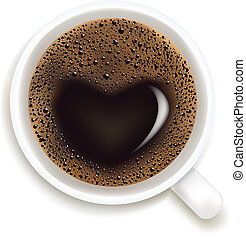 Cup Of Coffee With Prediction of Love, Vector Illustration -...