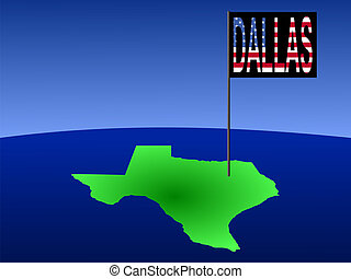 Dallas on Texas map - Map of Texas with Dallas flag...