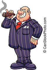 Rich businessman - Rich and fat businessman with a large...