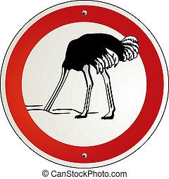 ostrich to cower