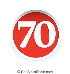 Number seventy red label vector