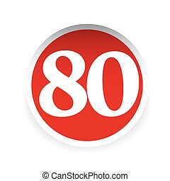 Number eighty red label vector