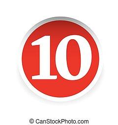 Number ten red label vector
