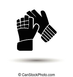 Soccer goalkeeper gloves icon. White background with shadow...