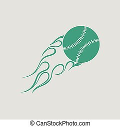 Baseball fire ball icon. Gray background with green. Vector...