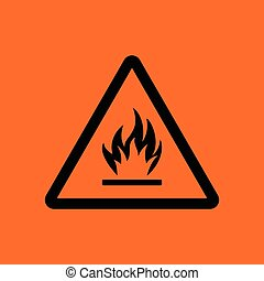 Flammable icon. Orange background with black. Vector...