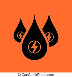 Hydro energy drops icon. Orange background with black....