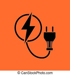 Electric plug icon. Orange background with black. Vector...