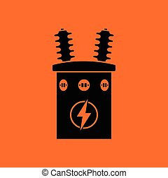 Electric transformer icon. Orange background with black....
