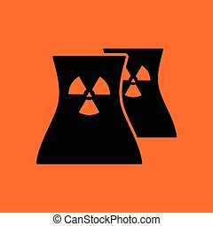 Nuclear station icon. Orange background with black. Vector...