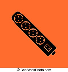 Electric extension icon. Orange background with black....