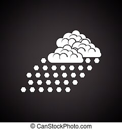Hail icon. Black background with white. Vector illustration.