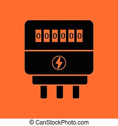 Electric meter icon. Orange background with black. Vector...