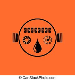 Water meter icon. Orange background with black. Vector...