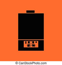 Gas boiler icon Orange background with black Vector...